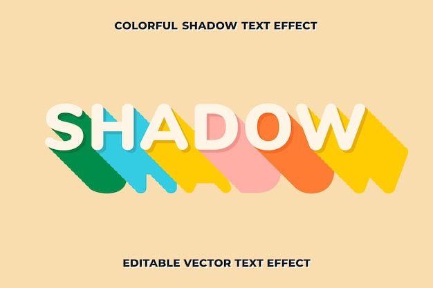 Editable shadow text effect vector template