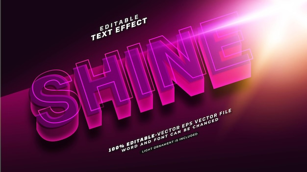 Editable shine text effect