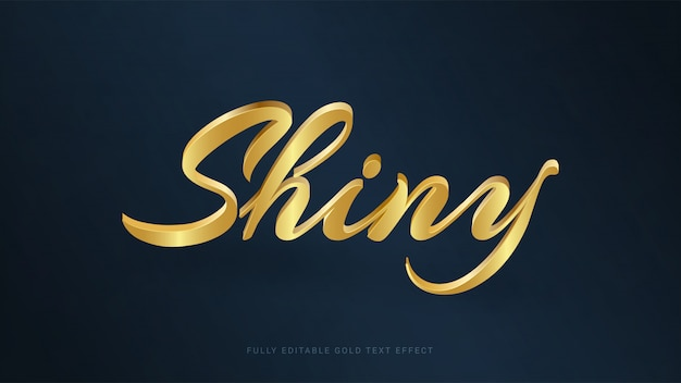 Editable shiny gold text effect