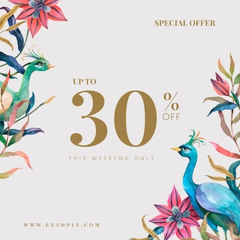 Редактируемый векторный шаблон рекламного магазина с акварельными павлинами и цветами, скидка 30% на текст