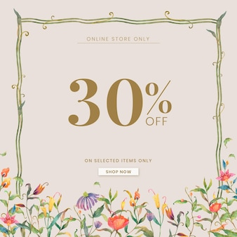 Editable shop ad template with watercolor peacocks and flowers illustration with 30% off text