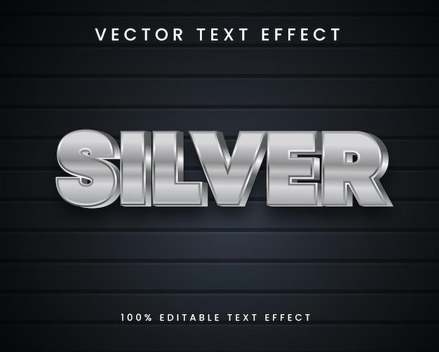 Редактируемый серебряный 3d текстовый эффект в стиле вектора премиум