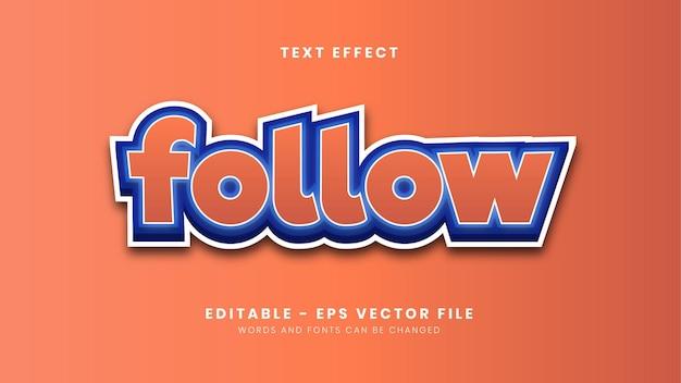 Editable simple follow font effect