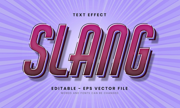 Editable slang font effect