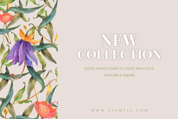새 컬렉션 광고를 위해 베이지색 배경에 수채화 공작과 꽃이 있는 편집 가능한 소셜 배너 템플릿