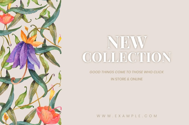 Editable social banner template with watercolor peacocks and flowers on beige background for new collection ads