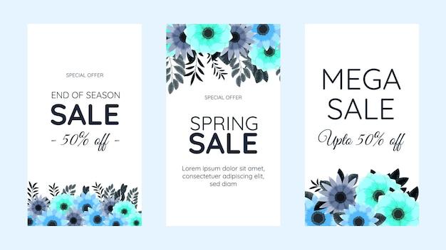 Editable social media instagram story template design frame background in cute soft flowers floral