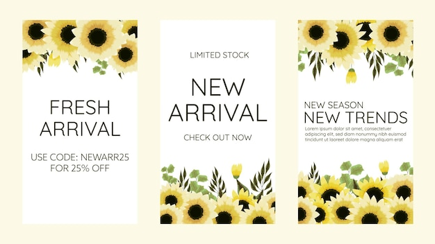 Editable social media instagram story template design frame background in cute soft flowers