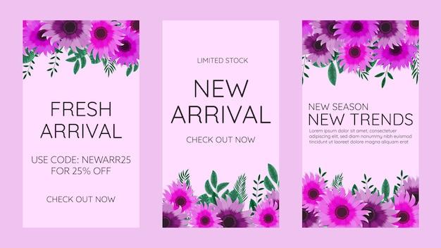 かわいい柔らかい花の編集可能なソーシャルメディアinstagramストーリーテンプレートデザインフレームの背景