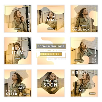 Editable social media post template collection for fashion sale