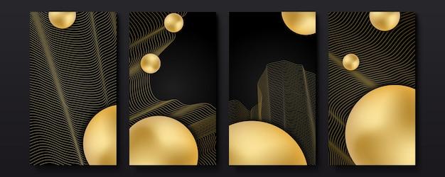 편집 가능한 소셜 미디어 스토리 템플릿. 황금 오버레이, 선, 동적 모양 벡터 디자인이 있는 소셜 미디어 프레임