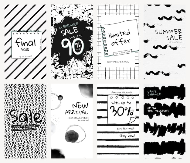 Editable social media story template vector set with ink brush patterns for promotion and new arrival