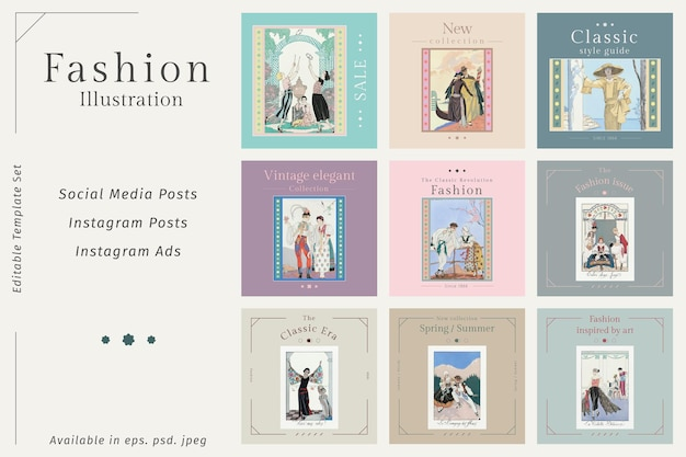 Editable social post templates vector in vintage fashion style, remix from artworks by george barbier