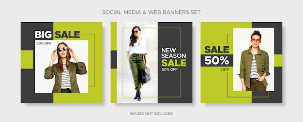 Editable square fashion sale banner templates set with discount tag and empty frame for social media, instagram post and web