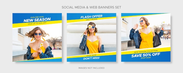 Editable square sale banner templates set with empty abstract frames for social media, instagram post and web