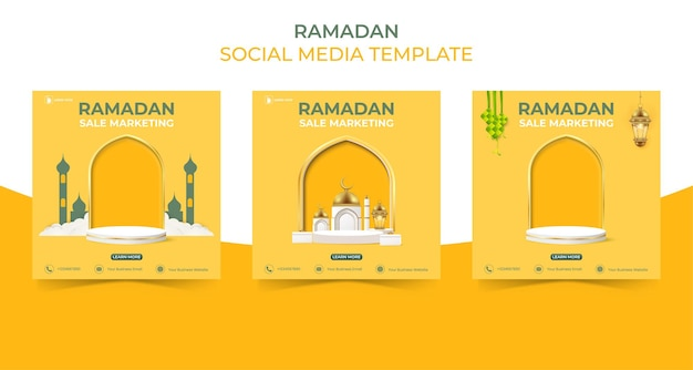 Editable square social media post template ramadan sale banner concept for promotion with podium