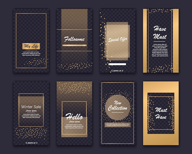 Editable stories template pack. social media frames with golden overlays, sequins.