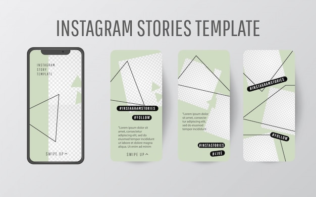 Editable story template collection with trend color and triangular shapes
