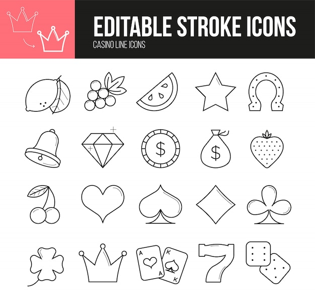 Editable stroke casino icons