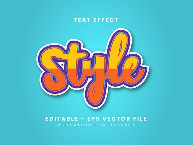 Editable style full color text effect