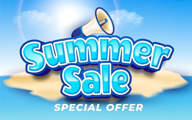 Editable summer sale with megaphone illustrator