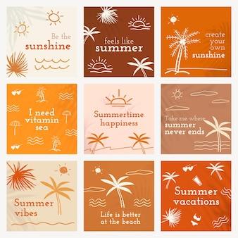 소셜 미디어 게시물을 위한 귀여운 낙서 세트가 있는 편집 가능한 여름 템플릿 벡터
