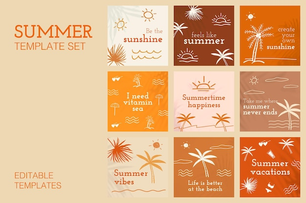 Editable summer templates vector with cute doodle set for social media post
