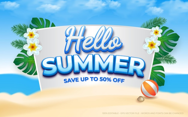 Editable summer text effect end of season summer sale promotion