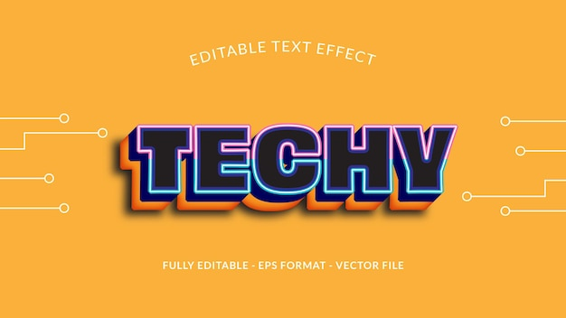 Editable technology text effect in yellow background