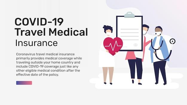 Vettore modello modificabile per la presentazione dell'assicurazione medica di viaggio covid-19