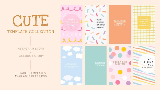 Editable template vector set for social media story in various art styles with inspirational texts