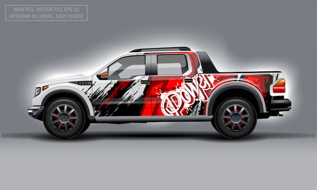 Editable template for wrap suv with abstract power text decal. hi-res vector graphics.