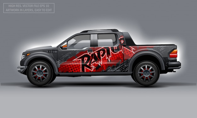 Editable template for wrap suv with abstract raptor text decal. hi-res vector graphics. Premium Vector