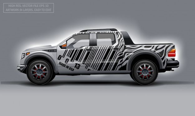 Editable template for wrap suv with bar code lines decal. hi-res vector graphics.