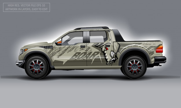 Editable template for wrap suv with evil boar profile decal.
