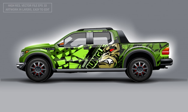 Editable template for wrap suv with evil gorilla decal.
