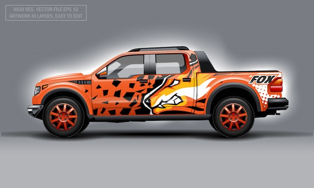 Editable template for wrap suv with orange evil fox decal. hi-res vector graphics. Premium Vector