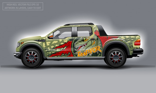 Editable template for wrap suv with raptor profile decal.