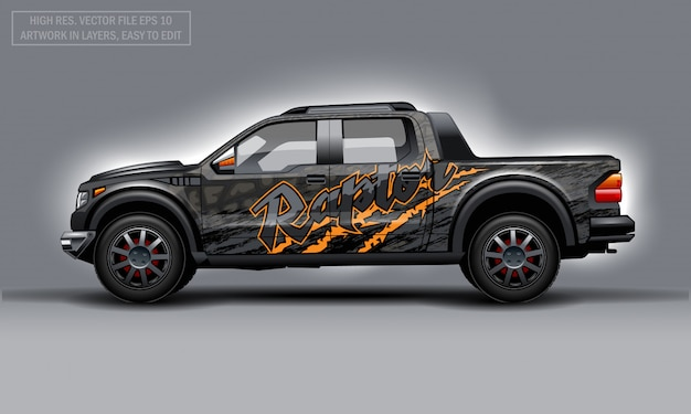 Editable template for wrap suv with raptor text and scratches decal.