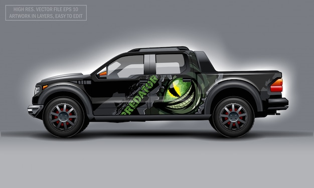 Editable template for wrap suv with scary eye and predator text decal. hi-res vector graphics.