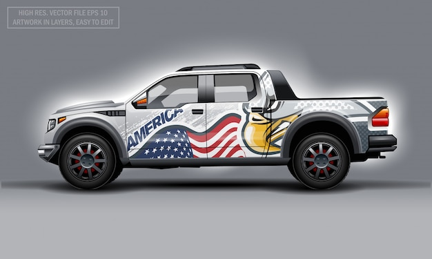 Editable template for wrap suv with usa flag and eagle decal. hi-res vector graphics.