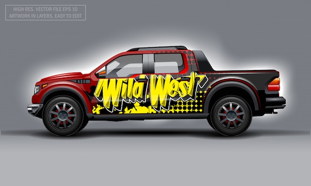 Editable template for wrap suv with wild west abstract text decal.