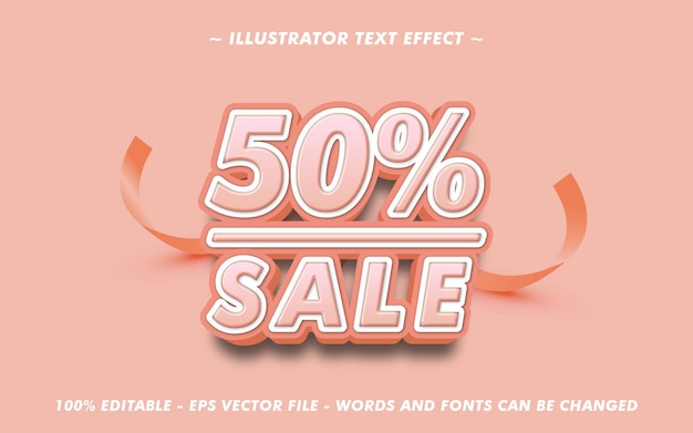 Editable text 50 percent sale with 3d style effect