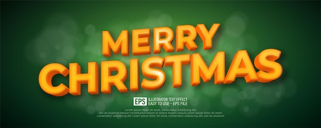 Editable text christmas 3d style effect on green background
