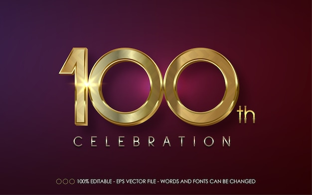 Editable text effect, 100 th celebration style illustrations