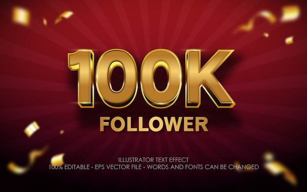 Editable text effect, 100k follower style illustrations