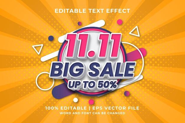 Editable text effect -11.11 big sale template style premium vector