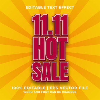 Editable text effect - 11.11 hot sale template style premium vector