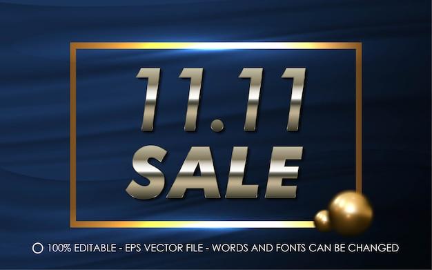 Редактируемый текстовый эффект, иллюстрации в стиле продажи 11.11