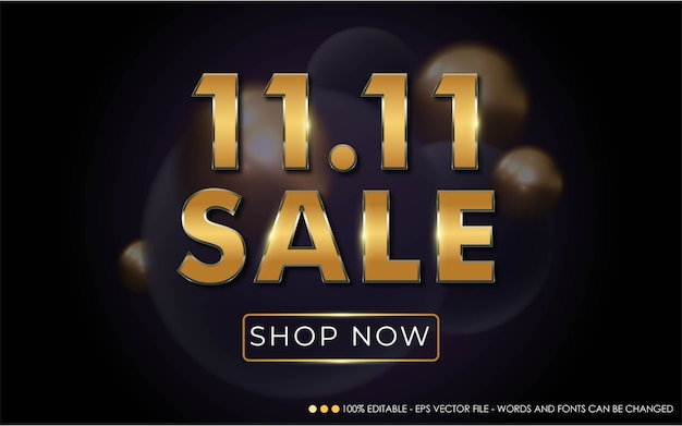 Editable text effect, 11.11 sale style illustrations